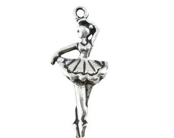 "20 Charm Pendant ""Ballerina"", 31 x 13 mm, Silver"
