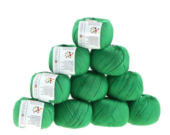 10 x 50 g knitting wool dainty green cotton, #147