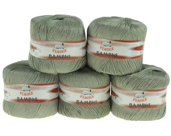 5 x 50 g Knitting yarn bamboo of by VLNIKA, #306 gray/green
