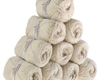 10 x 50g Strickgarn TEREZKA 100% Baumwolle, #103 beige