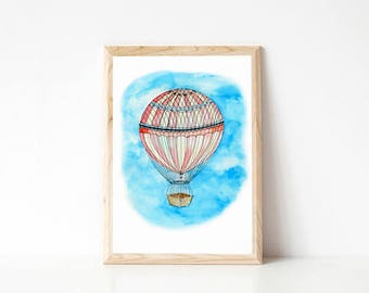 Hot Air Balloon, vintage hot air balloon print, nursery art, children's bedroom artwork, whimsical sky painting,  watercolour illustration
