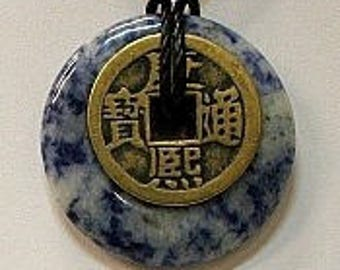 Sodalite Donut Pendant in 35mm with I-Ching Coin