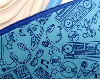 Blue pencil case, blue zipper pouch, retro music themed bag, accessories pouch, gift for him, gift for son, blue gift