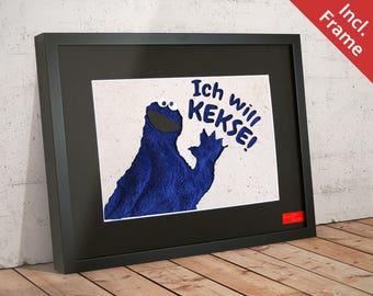 Cookie Monster WALL SILHOUETTE 40 x 30 cm - fabric background / Sesame Street / Kermit / Muppets / Grover / Bert / Elmo, Ernie / Samson