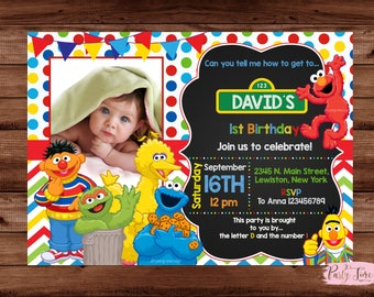 Sesame Street Invitation - Sesame Street Birthday Invitation - Sesame Street - Elmo Invitation - Elmo Birthday Invitation
