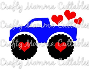 Valentine Monster Truck SVG // Boys Valentines SVG // Valentine Truck SVG // Valentines // Truck // cuttable design / silhouette file // cut