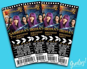 Descendants Invitation, Descendants Birthday, Descendants Party, Descendants Movie Pass, Descendants Birthday Party Ticket, Descendants 2