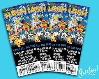 Pokemon Invitation, Pokemon Birthday, Pokemon Party, Pokemon Invites, Pokemon Prints, Pokemon Ticket, Pokemon Ticket Invitation, Pokemon