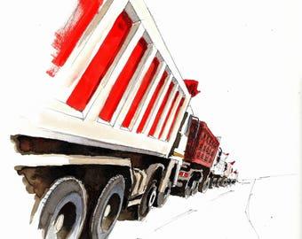 Fila di camion presso il cantiere della variante di valico (Barberino di Mugello, Tuscany).