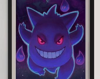 """Gengar - Pokemon - Print - (A3/11.7""""x16.5"""")"""