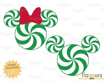 Minnie and Mickey Peppermint - Disney Christmas - INSTANT DOWNLOAD - For Cutting - Only SVG Files