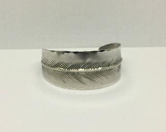 STUART NYE Sterling silver  feather cuff bracelet #430