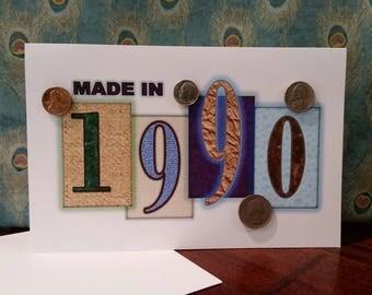 1990 Coin Greeting Card, 1990 Coin Birthday Card, Coin Card, 1990 Coin Card, 1990 Coins, Born in 1990, 1990 Gift, 1990 Birthday Card, 1990