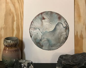 Teal and Rust Abstract Moon Original Painting- 11x14