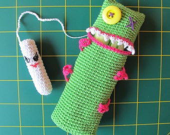 Door-stamps with applicator, Monster green, handmade by fairy M1 Creations crochet
