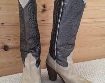 Vintage Frye Knee High Cowboy Boots Women's Size 7