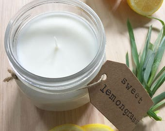 8 oz. Sweet Lemongrass Hand Poured Pure Soy Candle with Cotton Wick