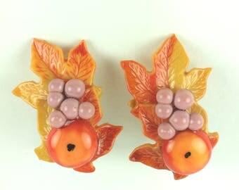 Vintage earrings-gaudy-leaves-orange-lilac-cheerful-fun-maple-apple-grapes-mid century-Mad Men-Gift