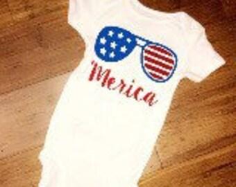 Merica baby boy onsie // Fourth of July baby onesie