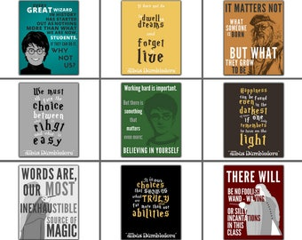 Set of Nine 9 Harry Potter Wall Art Popular right now  School Counselor Gift Print Therapist Office Room Wall Decor Classroom Teacher Gift