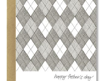 Father's Day Argyle - A2 Card (Single or Set of 5)