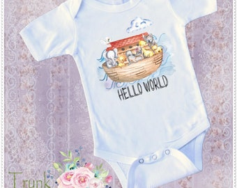 Noah Ark  Hello World Body Suit; Baby Noah Ark; Infant Noah Ark Body Suit