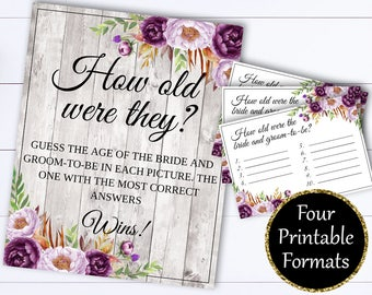 How Old Were They Bridal Shower Games - Guess The Age Wedding Shower Game - How Old Was Bride Printable Game - Guess How Old Printable Game