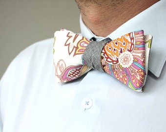 Mens bowtie Grey and Floral bow tie 100%Cotton men's self tie bow tie Self Tied bow tie 40cr