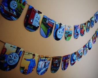THOMAS the TRAIN Set of 2 Paper Buntings Upcycled Kids Bunting Kids Birthday Decor Kids Birthday Banner Nursery Room Decor Boys Birthday