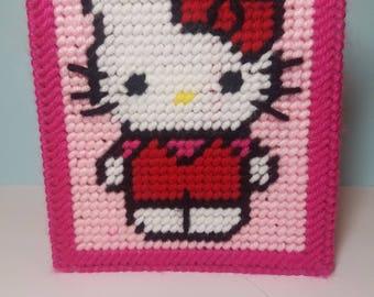 Hello Kitty Tissue box cover, pink Hello kitty,  plastic canvas Hello kitty tissue box cover, Hello kitty bathroom decor ,cat tissue box