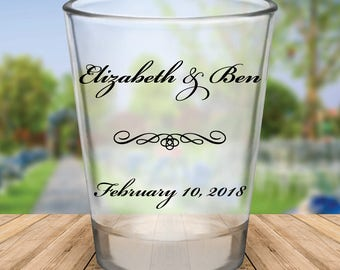 Custom Classic Script Personalized Wedding Favor Shot Glasses