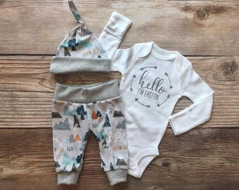 Hello I'm Adventure Awaits Newborn Boy Coming Home Outfit, Newborn Outfit, Baby Boy Outfit, Boy Outfit, Going Home Outfit
