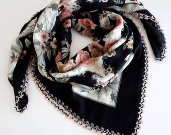 Head Scarf Black, Turkish Needle Lace Scarf, Square Scarf, Yemeni Scarf, Vintage Crochet Shawl, Oya Scarf