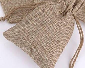 20% OFF  50 x Burlap Favor Bag, Natural Favour Bag, Hessian Favor Bag, Rustic Wedding, Christening Gift, Hessian Bag, Wedding Favours