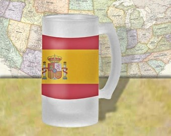 Spain Flag Beer Mug, Beer Stein, Country Flag, Country Pride, Beer Glass, 16 oz., Frosted Mug, Beer Thinkers, Beer Lovers, Cold Beer