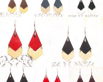 Triangle arrow leather earrings