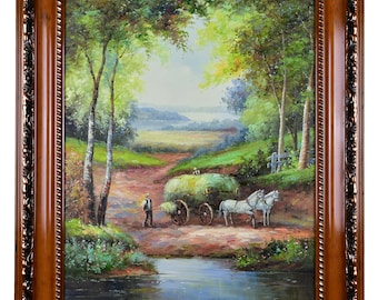 """Impressionism, Large Original Hand Painted Landscape Art, """"Farmer and the Hay Wain"""" 30 x 25"""