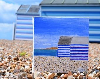 Beach huts, water colour painting on canvas