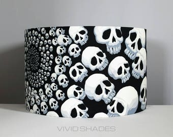 Skull lampshade 30cm / 35cm fabric light / lamp shade handmade by vivid shades, monochrome stylish cool black white drum ceiling Halloween