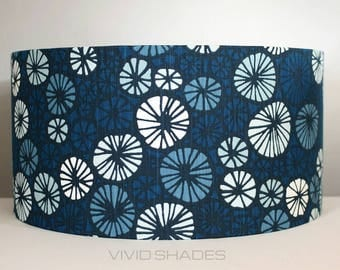Lampshade Scandi fabric 40 or 45cm handmade by vivid shades, funky retro true Scandinavian fabric stylish circle pinwheel pattern lamp shade
