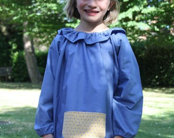 School girl blue 8 blouse/blouse. Mustard graphic pocket. With collar