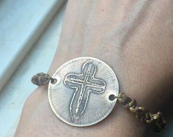 etched brass cross bracelet