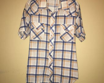 Vintage Sears Western Wear snap shirt size Large 1970s
