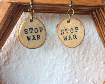 Earrings, stop was handmade, wood, hippie, Boho, nature