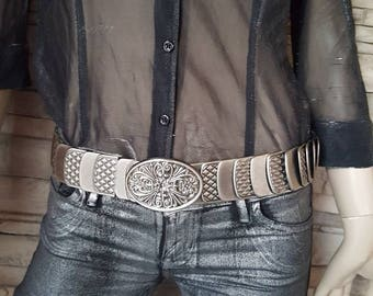 Metal stretch belt with buckle Party belt Silver metal elastic  dressy hip or waist belt Floral design buckle Fish scale belt stacked scale