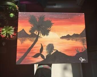 Tropical Sunset Mermaid painting
