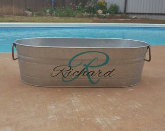 Galvanized tub, personalized tin tub, personalized planter, custom galvanized bucket, metal container with name, outdoor decor, patio decor