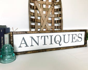 Antiques Sign, Hanging Wooden Sign, Antiques Wooden Sign, Farmhouse Antiques, Farmhouse Wall Decor