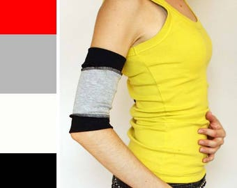 TRIXY XCHANGE - Black Workout Arm Warmers Grey Running Arm Cuffs White Hiking Armbands Red iPod Holder Phone Pocket Yoga Athletic Gloves