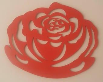 Red Rose, Metal Art, Flower, Wall Decor